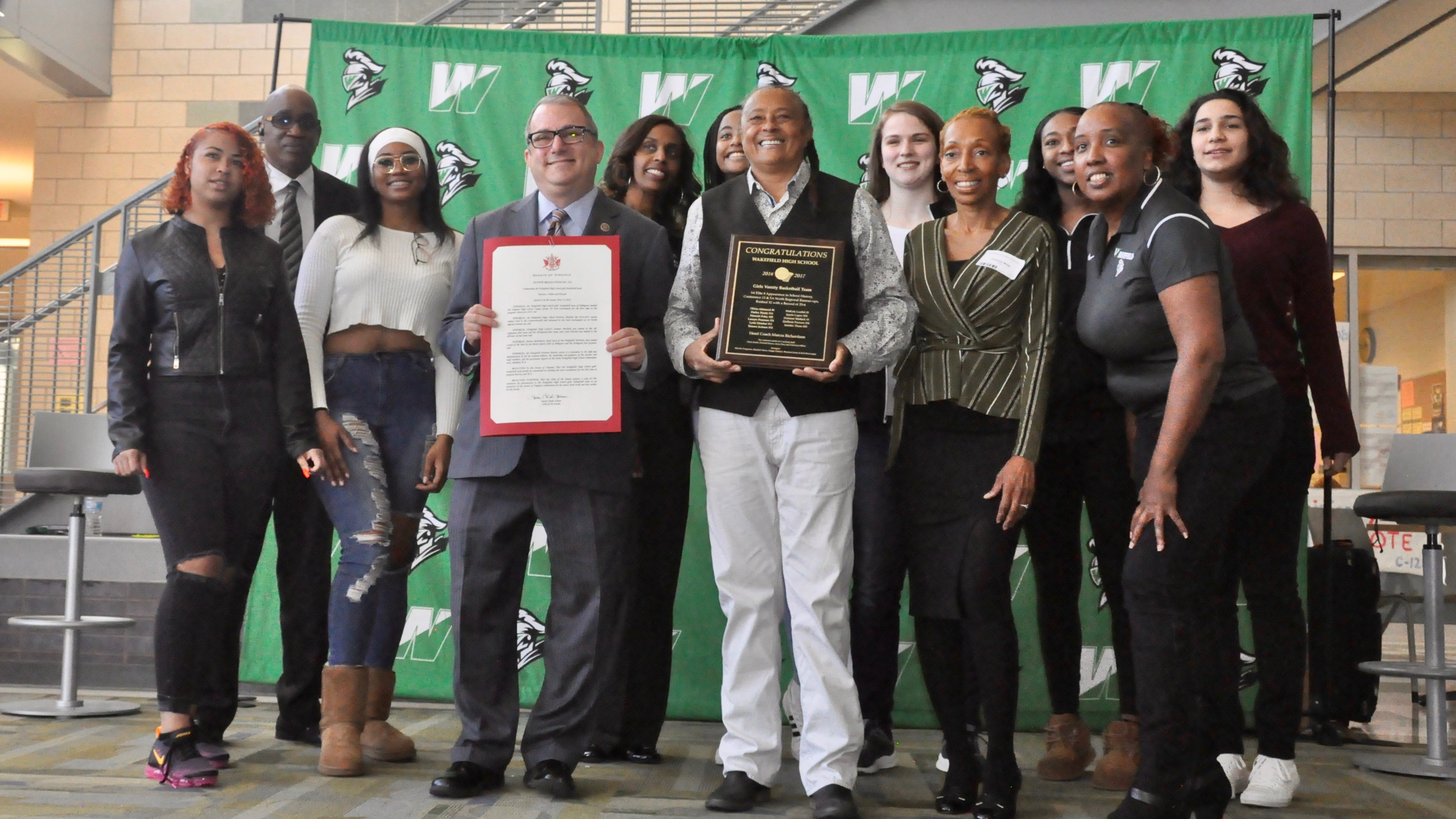 Coach Richardson and Varsity Girls Basketball Honored by State Senator Ebbin