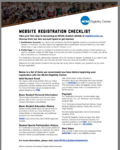 Eligibility Center Website Registration Checklist