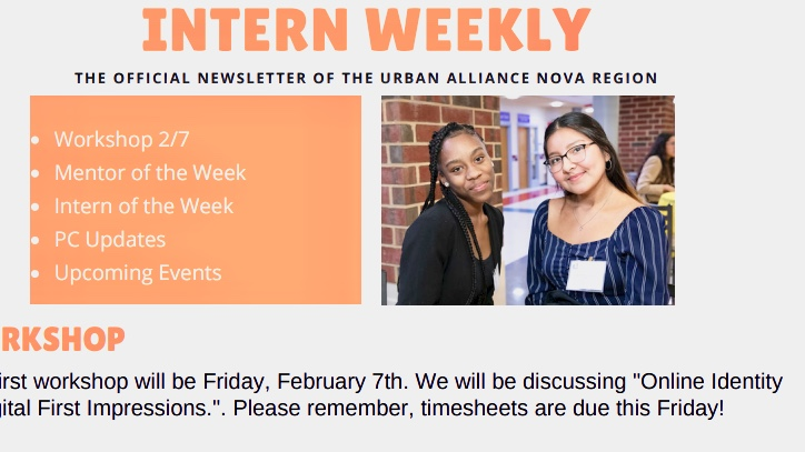 Urban Alliance interns Cornelya Buxton and Jannel Munoz appear on the front page of the Intern Weekly