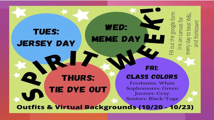 Spirit Week: Oct. 19th-23rd