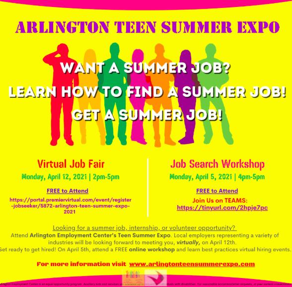 Arlington Teen Summer Expo- April 12:  2:00-5:00 pm